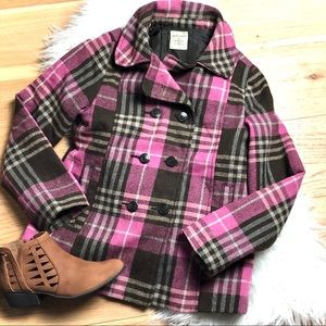 Old Navy Pea Coat Pink Brown Fully Lined Warm EUC